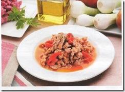 Carne molida con pimientos. Receta