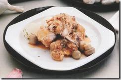 Pollo con champiñones y cebollitas. Receta | cocinamuyfacil.com