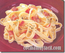 Tallarines con tocino. Receta | cocinamuyfacil.com