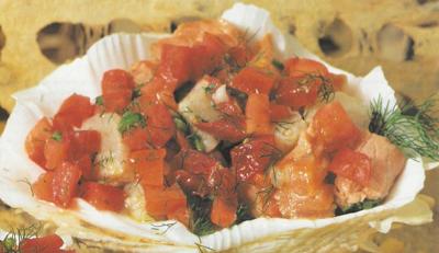 Ceviche de salmón y pescado blanco. Receta