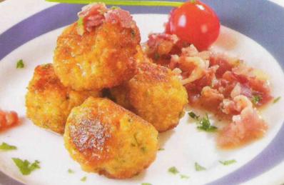 Albóndigas de pollo con salsa de tocino receta