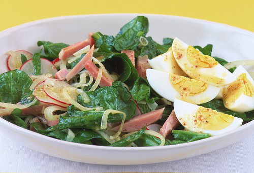 Ensalada de Espinacas con Jamón y Huevo. Receta