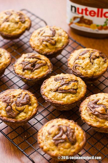 Muffins de plátano y nutella. Receta | cocinamuyfacil.com