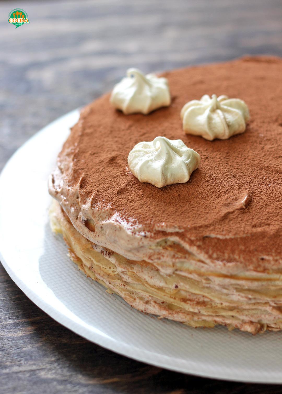Pastel de crepes de chocolate. Receta   cocinamuyfacil.com