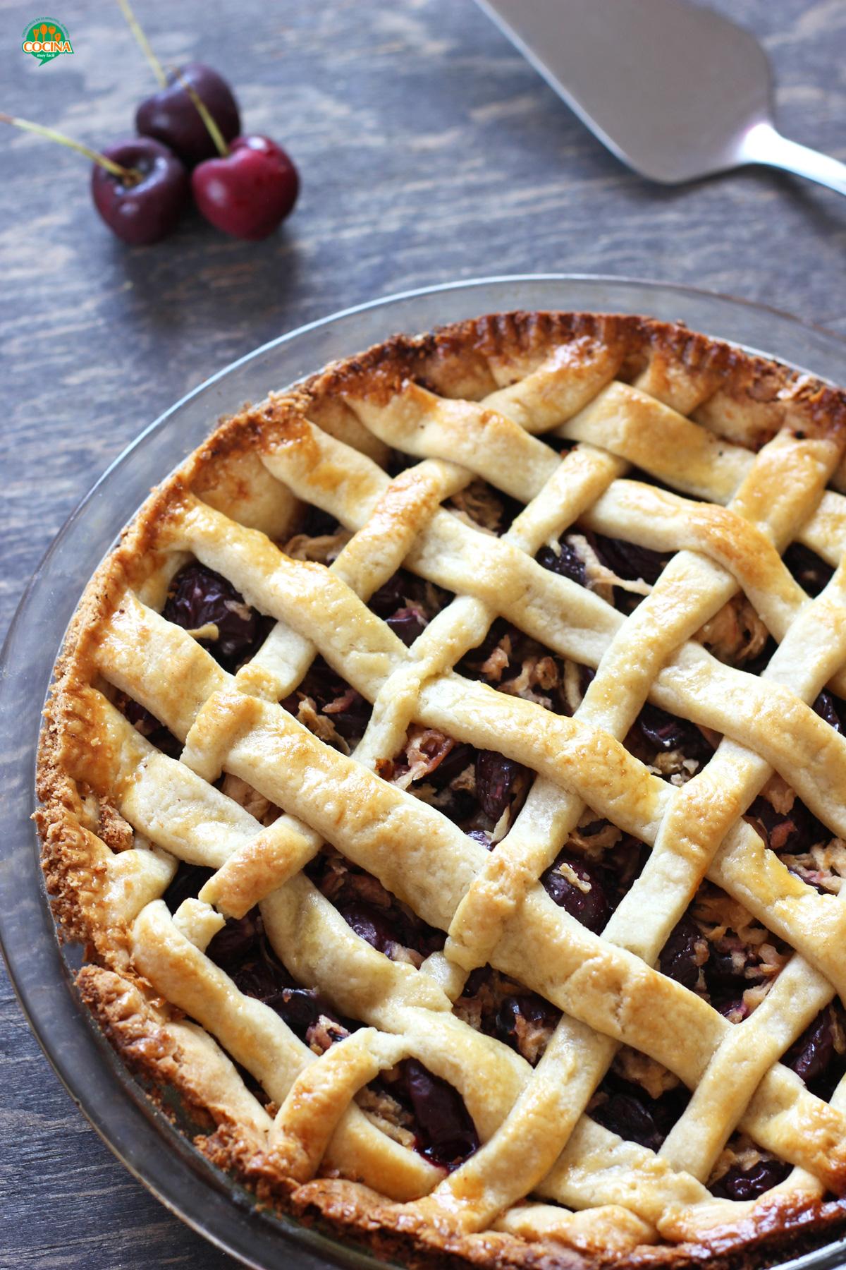 Tarta de cerezas o Cherry Pie. Receta | cocinamuyfacil.com