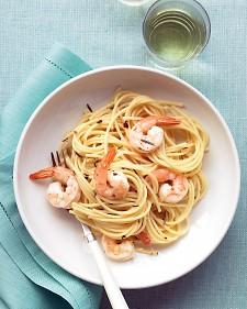 Espagueti con Camarones al Romero. Receta de Pasta.