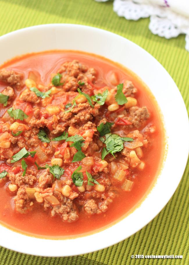Guiso de carne y elote. Receta | cocinamuyfacil.com