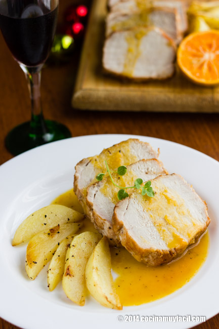 Lomo de cerdo en salsa de mandarinas. Receta para Navidad | cocinamuyfacil.com
