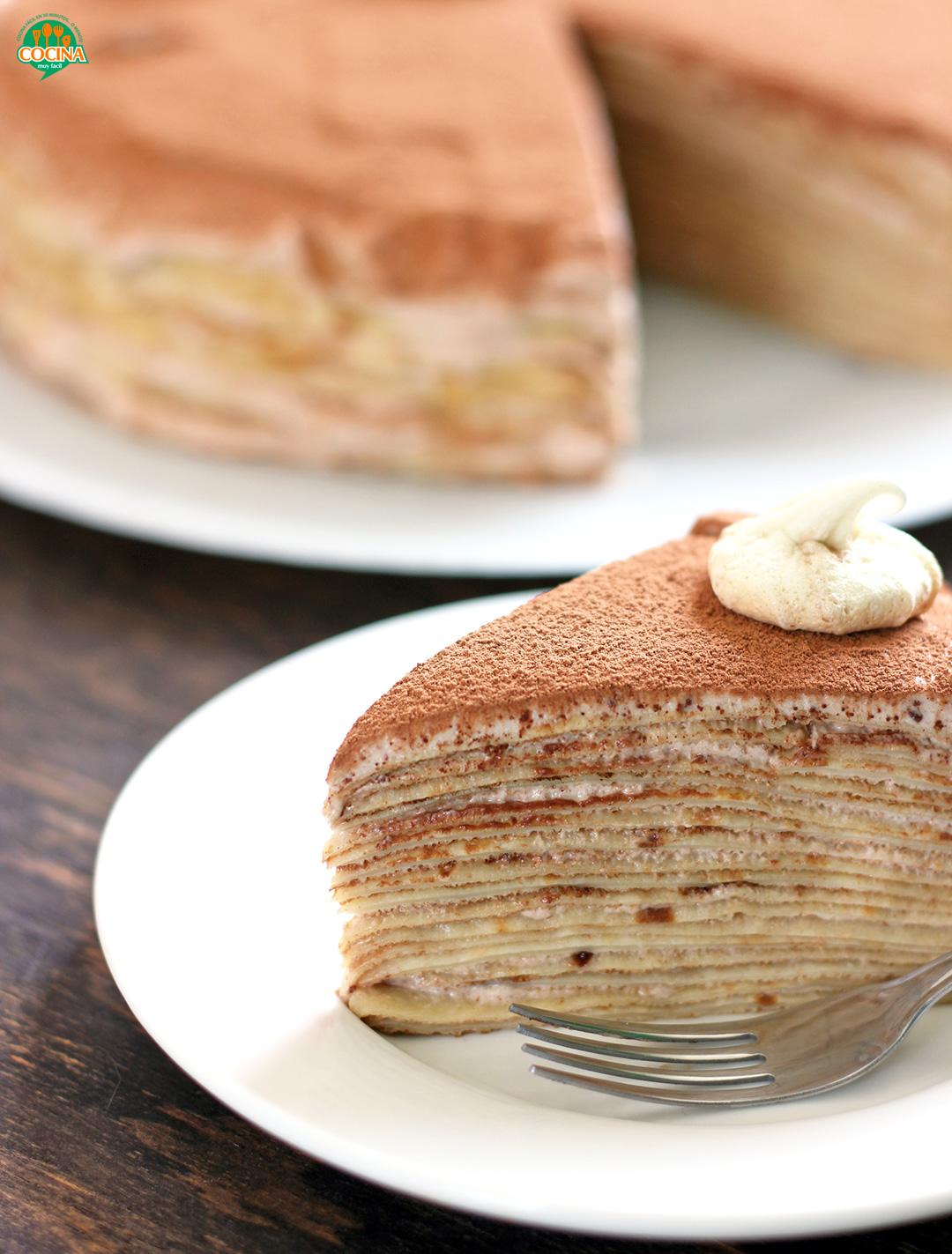 Pastel De Crepes De Chocolate Receta Cocina Muy Facil