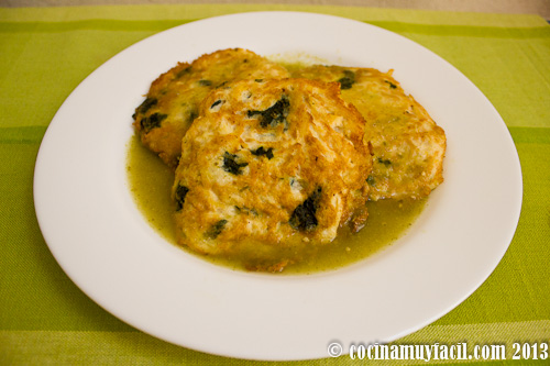 Tortitas de pollo con espinacas